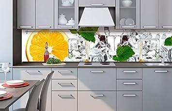 Kuchenruckwand Folie Selbstklebend Zitrone Und Eis 260 X 60 Cm