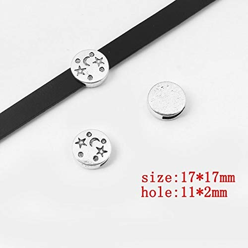 (Laliva 10pcs Fashion Charms Round Slider Spacer Jewelry for 102mm Flat Leather Cord Bracelet Bangle Jewelry Making Accessories - (Color: 1))