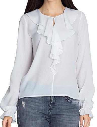 Longue Femme Taille Soie Tops Ruffle Blouse Blanc bouriffer Casual Mousseline Tee Chic Grande Chemise Manche Tunique Hauts Chemisier Shirts de T lgant SdqE0