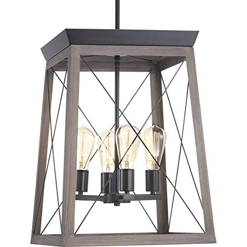 - Progress Lighting P500178-020 Briarwood Collection Four-Light Foyer, Antique Bronze