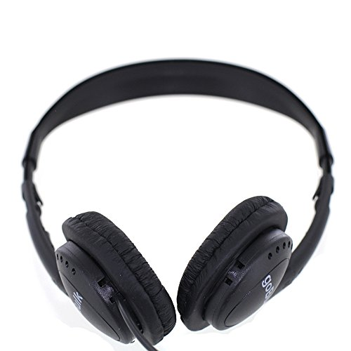 Pack of 50 Quantity - goBulk Stereo Headphone (H2, Wipe-Cleanable, Leatherette Earpads)