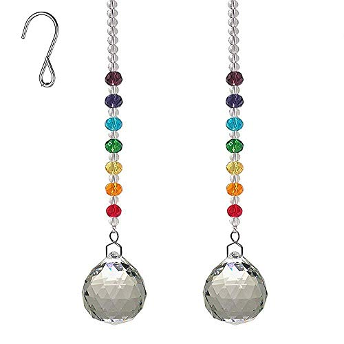 (AyFashion 1.19 inch (30mm) 2pcs Crystal Prism Ball Hanging Pendant Rainbow Maker Colorful Faceted Beads Window Chandelier Lamp Curtain Decor Suncatcher Wedding Home Ornament)