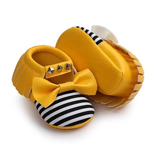 Tefamore Zapatos Bebé Zapatillas de deporte del remache de la Raya del Bowknot del Suave únicas niños Amarillo