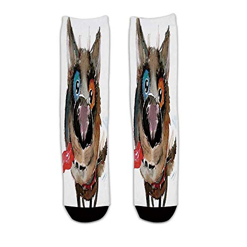(YOLIYANA Animal Stylish Knee Length Socks,Funny Dog Puppy Smiling Best Companion Happy Creature Humor Grunge Print for Men Women,L)