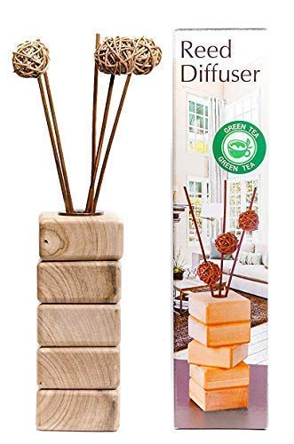 AROMCOM Decorative Reed Diffuser vase, made from natural walnut wood for home decor accents and office decor accents. 100% French Perfume composition, bottle 125 ml of Green Tea Fragrance