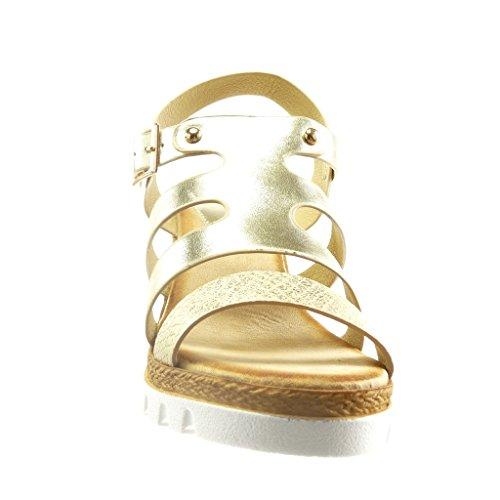 Angkorly - Chaussure Mode Sandale Mule semelle basket plateforme femme peau de serpent clouté Talon compensé plateforme 7.5 CM - Or