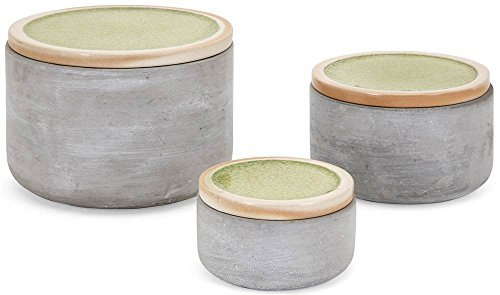 Imax Lidded Box - Imax Molly Cement Lidded Boxes-Set of 3 Accent Table
