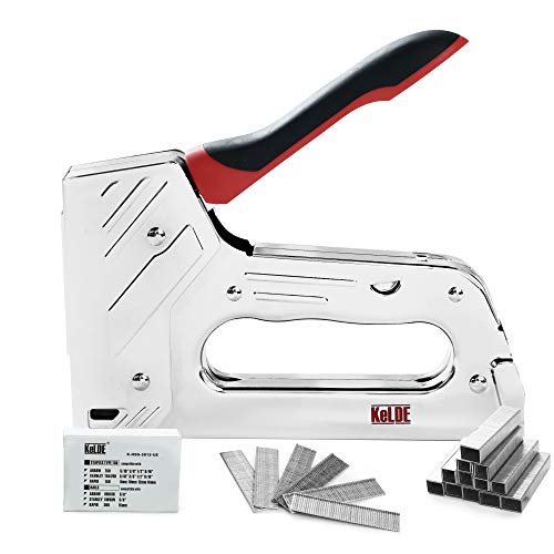 KeLDE Manual Staple Gun Kit, Heavy Duty Hand Tacker / Nailer for T50 Staples and Brad Nails, Includes 1200pcs Staples with 5/16, 3/8, 1/2, 9/16 Inch Length and 300 pieces 5/8-in Nails
