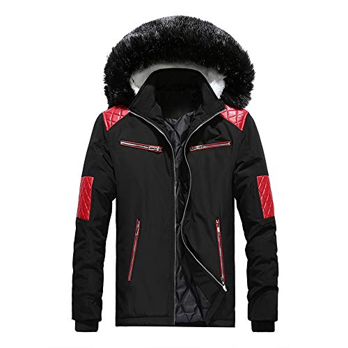 iLXHD Fashion Men's Faux Fur Collar Hoodied Warm Fleece Lined Down Jackets and Coats