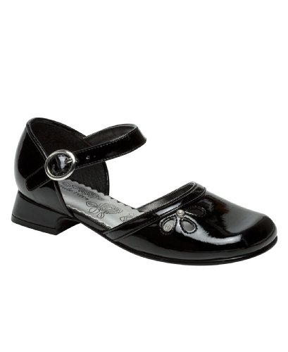 Stride Rite Womens Valerie Jr. (Youth) Black Patent Dress Flat 2.5 Little Kid M