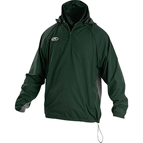 Rawlings Sporting Goods Mens Adult Jacket W Removable Sleeves & Hood, Dark Green, 2X by Rawlings