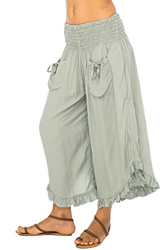 Back From Bali Womens Wide Leg Comfort Elastic Waist Crop Ruffle Hem Audi Pants Grey L/XL