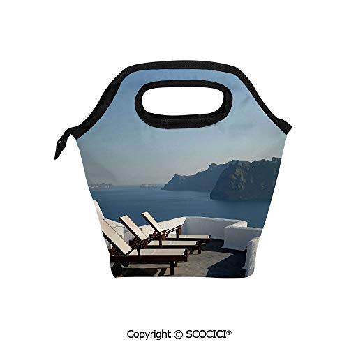 Insulation portable lunch box bag Sunlounger at Terrace in Santorini Greece Resort Relaxation Aegean Soft Fabric lunch bag Mummy bag.