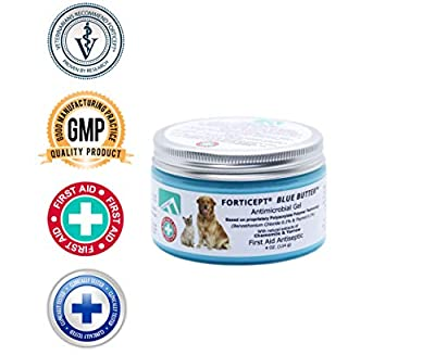 Forticept Blue Butter Antimicrobial Wound Filler Antiseptic Gel All Animal for Skin Infections, Rashes, Sores, Wounds, Burns, Scratches | 4 OZ