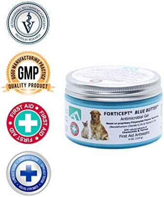 Forticept Blue Butter Antimicrobial Gel, Antiseptic Hydrogel Dogs Wound Care, Dogs & Cats for Skin Infections, Rashes, Sores, Wounds, Burns   4 OZ
