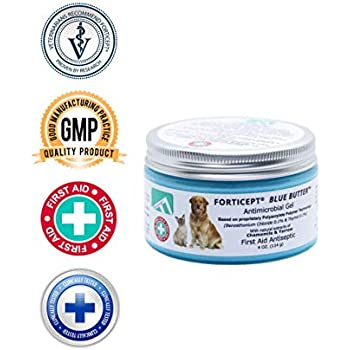 Forticept Blue Butter Antimicrobial Gel, Antiseptic Hydrogel Dogs Wound Care, Dogs & Cats for Skin Infections, Rashes, Sores, Wounds, Burns | 4 OZ