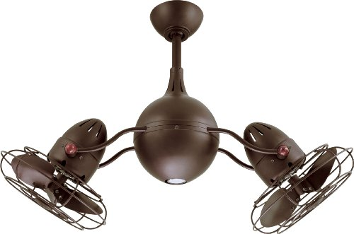 Matthew AQ-TB-MTL Acqua 37 Dual Rotational Outdoor Ceiling Fan with Light and Remote Control, Textured Bronze
