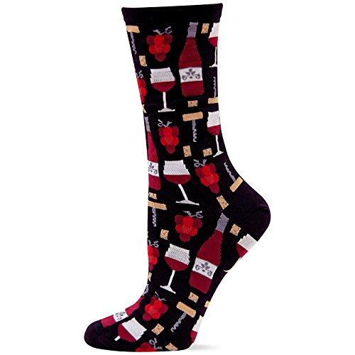 Hot Sox Originals Wine Crew Trouser Sock, Black, Women's 4-10.5