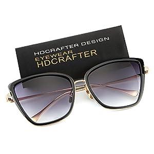 HDCRAFTER Women Full Frame Flash Mirrored Cat Eye Sunglasses HD2006