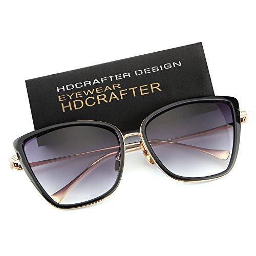 HDCRAFTER Women Full Frame Flash Mirrored Cat Eye Sunglasses - For Heads Designer Big Sunglasses