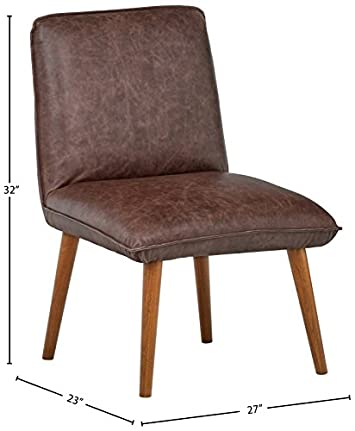 Rivet Wide Cushion Mid-Century Top-Grain Leather 2-Pack Accent Dining Chairs, 26.8 W, Brown