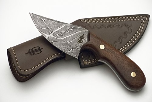 Buck n Bear Custom Handmade Damascus Fixed Blade Skinner Knife (Walnut Wood) -