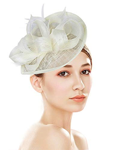 Z&X Sinamay Fascinator Pillbox Hat with Headband Hair Clip for Cocktail Tea Party -