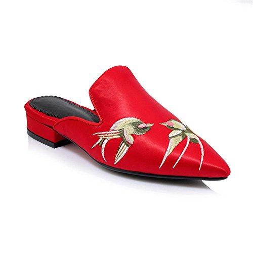 de deslizadores plana Red amp;M suela los bajo sandalias tacón grueso bordado de Heart Punto mujeres Toe del las de tacón 1OHxwdaUdq