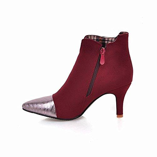 Carolbar Kvinnor Plus Size Zip Spetsig Tå Sexig Hög Klack Boots Vinröd