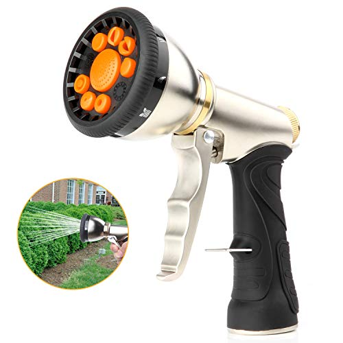 Garden Hose Nozzle Sprayer,Heavy Duty Metal Spray Nozzle 9 Adjustable Watering Patterns,Anti Leak Pressure Pistol Grip Trigger Water Nozzle Best for Hand Watering,Plants,Lawn,Car&Pets Washing.