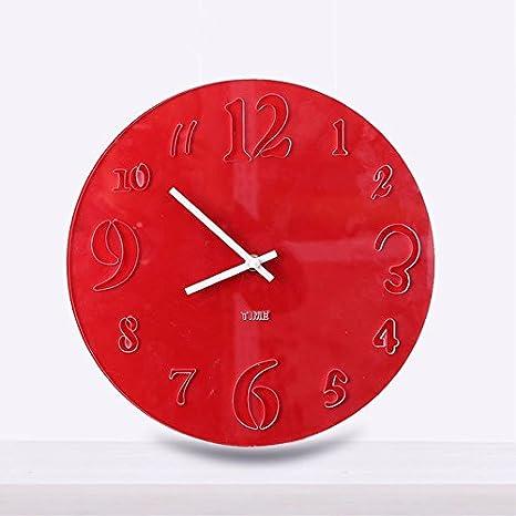 Reloj de pared redondo de acrílico YROAR para salón o sala de estar, reloj de pared de estilo europeo, reloj moderno, 30 cm: Amazon.es: Hogar