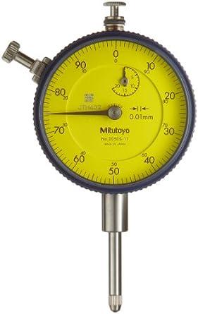 """Mitutoyo Dial Indicator, Metric, #4-48 UNF Thread, 0.375"""" Stem Diameter"""