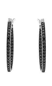 Black Natural Diamond Hoop Earrings in 14k White Gold Over Sterling Silver
