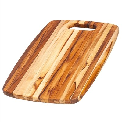 Teak Cutting Board - Rounded Rectangle Chopping Board With Centered Handle (18 x 12 x .75 in.) - By Teakhaus -