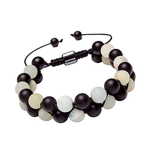 Leefi Matte Black Onyx Bracelet for Women Men Healing Energy 8mm Amazonite Stone Beads Adjustable Woven Bracelet(Onyx,Amazonite)