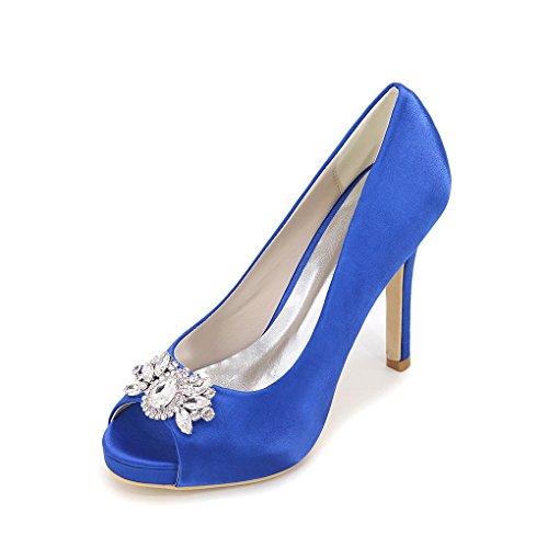 Yy-rui Dames Schoenen Pumps Hoge Hak Peep Toe Elegante Naaldhak Feestavond Blauw
