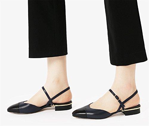 Pequeñas Hueco Dark de Hueco Zapatos cuero mujer blue 38 sandalias Oveja Verano de XIE mujer Baotou de Colorblock Zapatos 34 qUI8w5zx