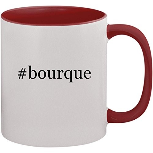 #bourque - 11oz Ceramic Colored Inside and Handle Coffee Mug Cup, Maroon
