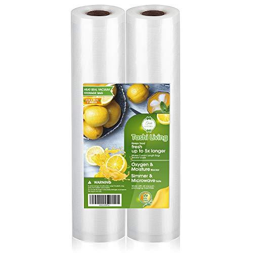 TashiLiving 11″ x 25′ – 2 Rolls Vacuum Sealer Bags for Food Saver, 4mil BPA-Free, Freezer, Sous Vide