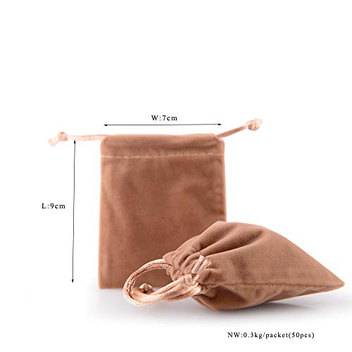 bd2029517bda Oirlv 50PCS velvet jewelry storage bags small accessories collected  Drawstring Pouches display and gifts For Weeding Party(Coffee)