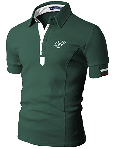Doublju Mens Polo T-shirts with Short Sleeve GREEN (Us Polo Ni??os)