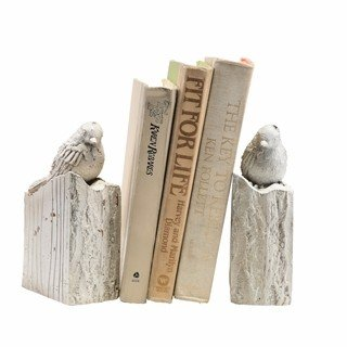 Anecdotal Aardvark Whitewashed Bird Bookends