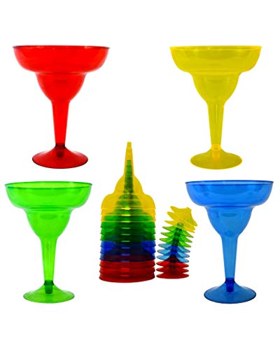 Margarita Glasses Set – Plastic Glass – 11.5 Ounces – 20 Count – Party Assorted Red, Blue, Green and Yellow