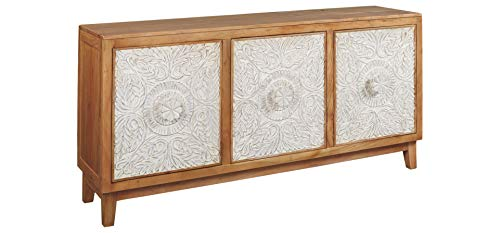 Signature Design by Ashley A4000009 Lorenburg Accent Cabinet, Antique White/Brown (Mirrored Bedside Cabinets)