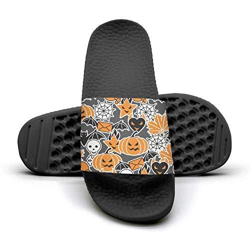 Men's Vintage Slipper Pumpkin Spider Web Skull Halloweenblack Super Soft Open Toe Flat Slide Flip Flops -