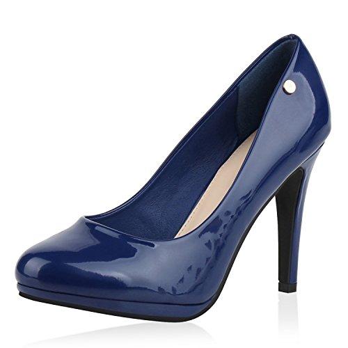 napoli-fashion Damen Pumps High Heels Übergrößen Party Schuhe Metallic Abendschuhe Glitzer Pailletten Lack Absatzschuhe Plateauschuhe Jennika Blau Blue