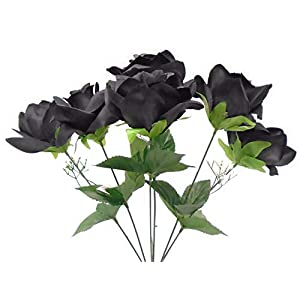 2 Bushes Open Rose Artificial Silk Flowers Bouquet 6-7203 Black 46