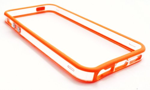 Emartbuy ® Apple Iphone 5 Protecteur D'Écran Lcd Et Moulé Butoir De Couverture De Gel / Case Orange / Clair