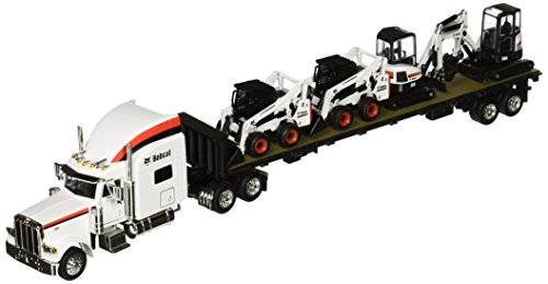 Peterbilt Tractor Trailer Diecast Toy - Bobcat Peterbilt 379 Tractor with Flatbed Trailer and Equipment (1:50 Scale), White/Black/Red