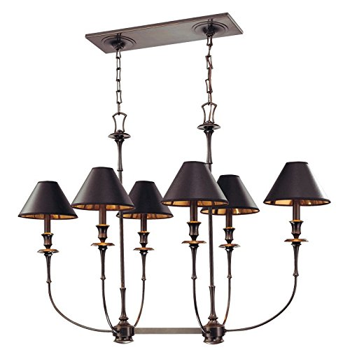 Hudson Valley Lighting Jasper 6-Light Island Chandelier - Old Bronze Finish with Black and Gold Foil Lining Parchment Shade